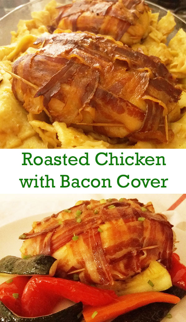 Roasted Chicken with Bacon Cover : Lattice covered chicken; simple to make and packed with smoky flavoures.