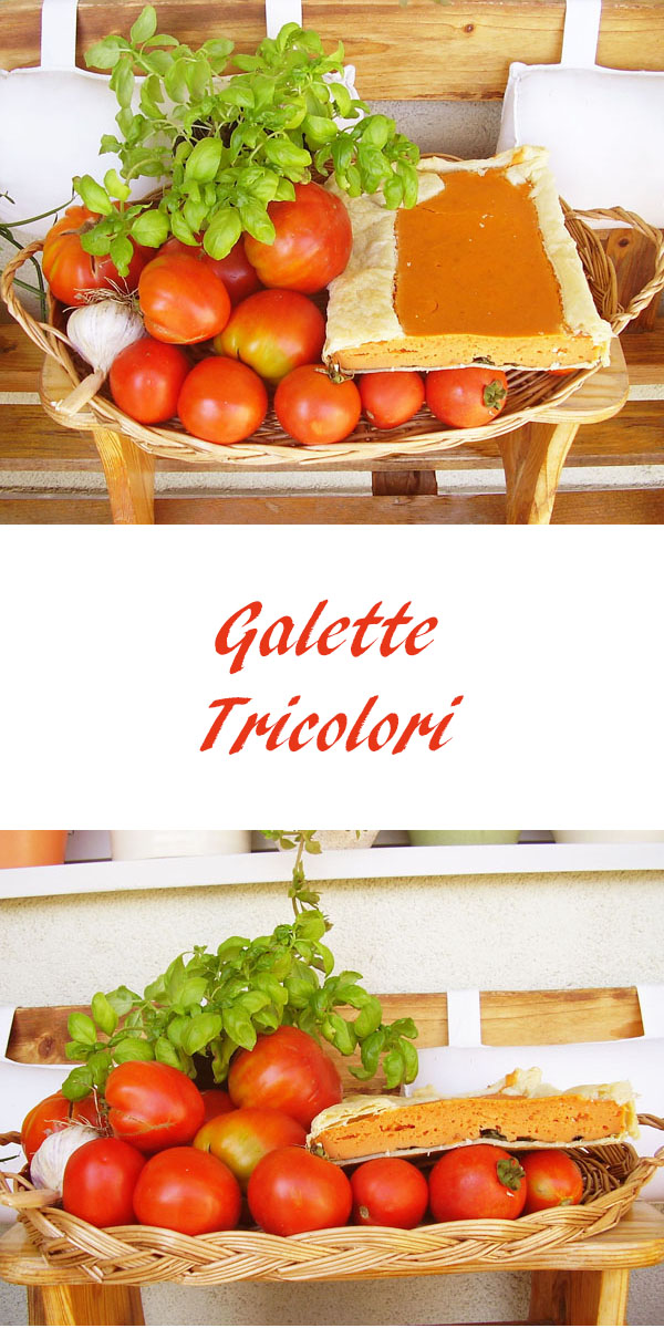 Galette Tricolori. Italian dish made of tomatoes, spinach and hard cheese wrapped in puff pastry.