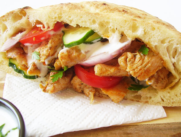 Homemade Chicken Gyros - original Greek summer dish, delicious and easy to make.