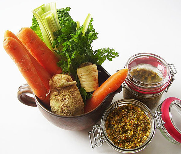 This Mirepoix Seasoning mixture is my grandmother's version of preserving vegetables simple and healthy way, using salt. It is one step before cooking process and this mixture could be used as flavouring ingredient to savoury dishes.
