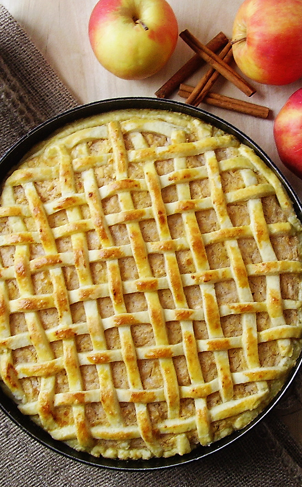 Lattice Apple Pie prepared this way is an all time classic prepared with sour cream to add a special flavor. Perfection at it's peak !