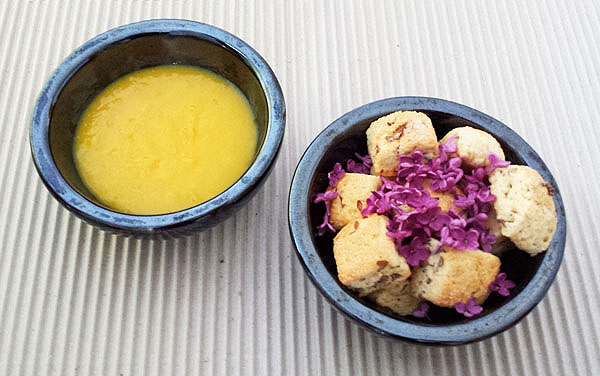 Lilac Mini Scones with Turmeric Lemon Curd : Nice Pair. Good looking. Tasteful too.