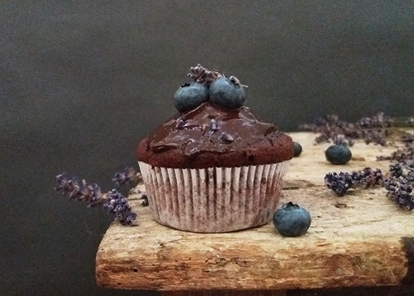 Lavender Blueberry Double Chocolate Muffins : perfectly matched blueberry and lavender muffins with lots of chocolate.