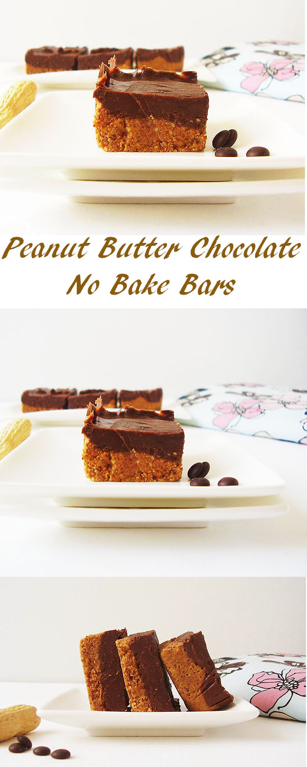 Peanut Butter Chocolate No Bake Bars: Peanut Miss Hugandkiss.