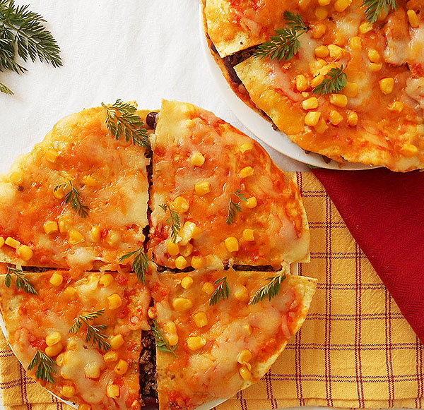 Mexican Pizza with One Secret Ingredient: two beautiful cultures joined together. Heaven!