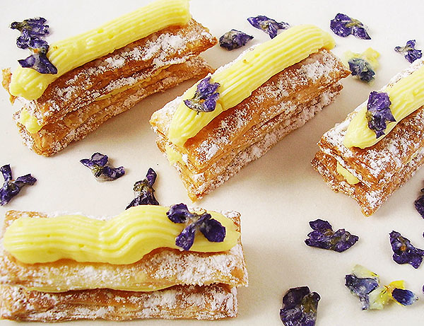 Napoleons with Italian Pastry Cream (Pasticciera Cream): Thin layers of puff pastry filled with smooth, silky and gentle Italian Pastry Cream, easily done.
