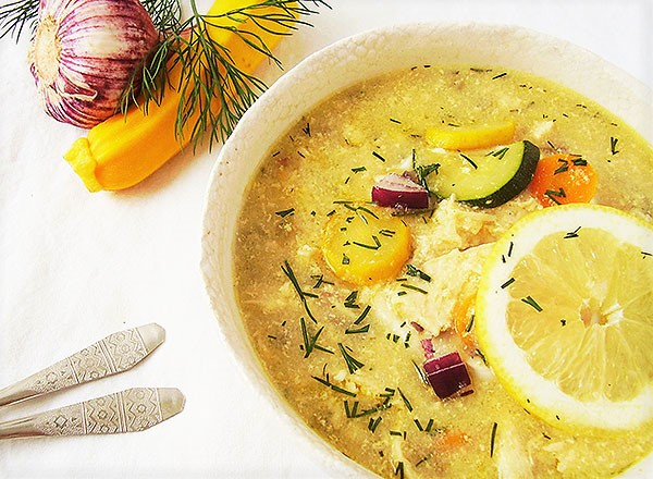 Greek Chicken Soup with Semolina and Vegetables: Avgolemono.