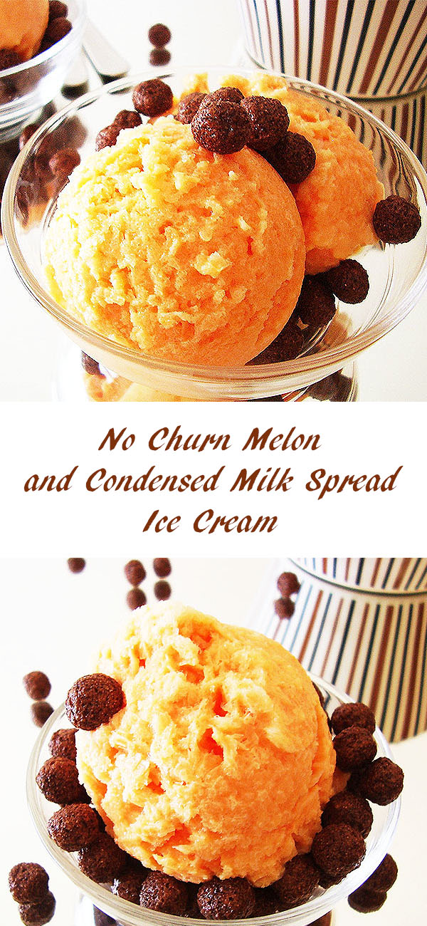 No Churn Melon and Condensed Milk Spread Ice Cream: keeps precious melon fragrance and is served with cocoa krispies.
