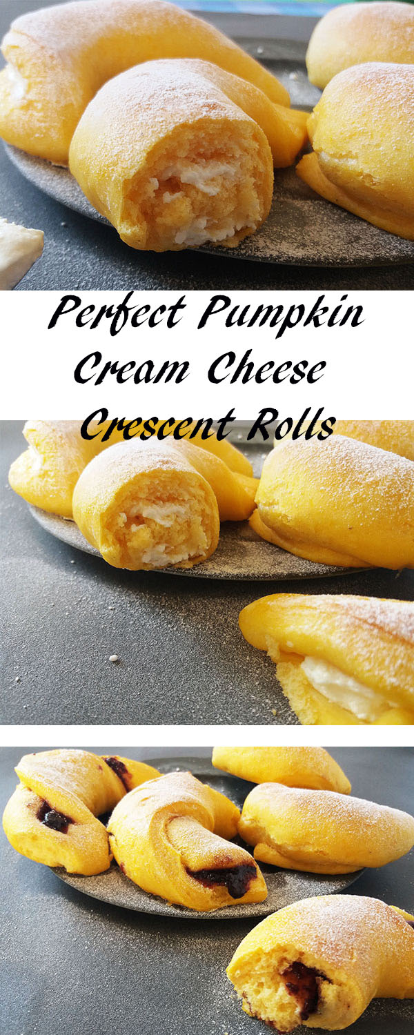 Perfect Pumpkin Cream Cheese Crescent Rolls: Pumpkin dough crescent rolls filled with cream cheese.