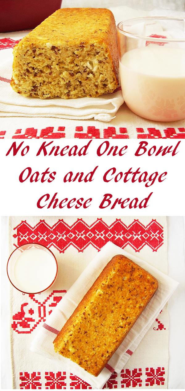 No Knead One Bowl Oats and Cottage Cheese Bread : healthy and moist no knead bread.