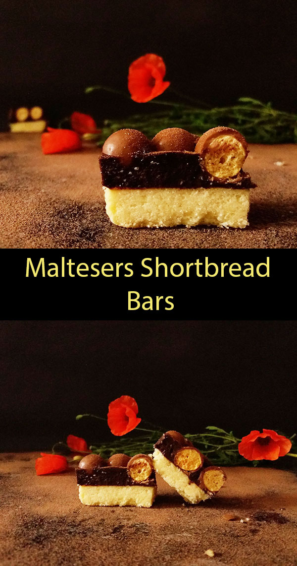 Maltesers Shortbread Bars : is there anything better than shortbread covered with chocolate ganache and crispy airy Maltesers ?