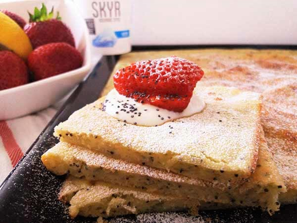 Sheet Pan Icelandic Skyr Yogurt and Poppy Seed Pancakes