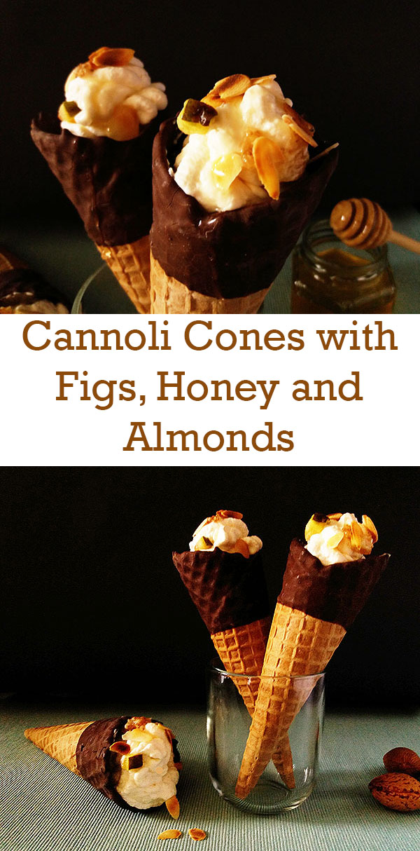 Cannoli Cones with Figs, Honey and Almonds : the best for Canicular and every other kind of days !