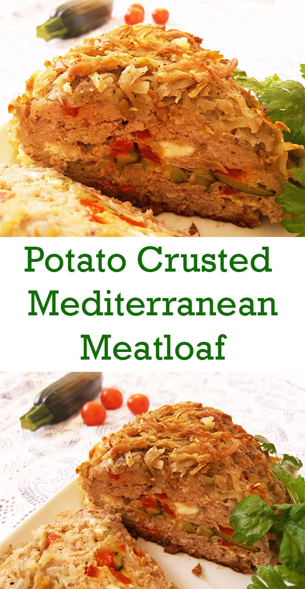 Potato-Crusted Mediterranean Meat Loaf : Every bite of this tender, juicy meatloaf is full of flavours with feta cheese, zucchini slices and bell pepper strips. Potato crust makes it complete !