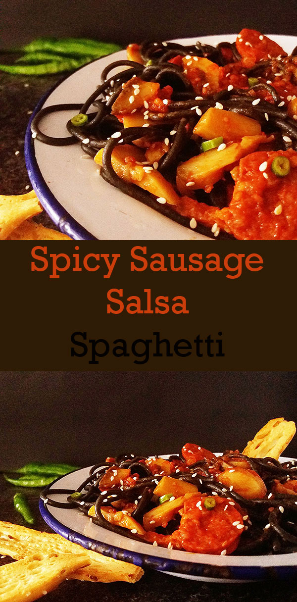 Spicy Sausage Salsa Spaghetti : quick, easy, hearty !
