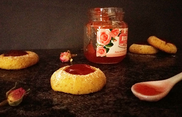 Pistachio Tumbprint Cookies with Rose Jam : inspired by Rose Petals Turkish Delight.