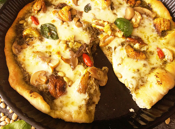 Roast Chestnut Pizza with Pine Nuts : Ode to Autumn Flavours.