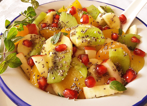 Winter Fruit Salad with Chia: boosted with vitamins and chia seeds;exactly what you need during winter!