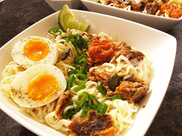 Creamy Pulled Pork Ramen : quick and easy pulled pork leftovers' week diner !