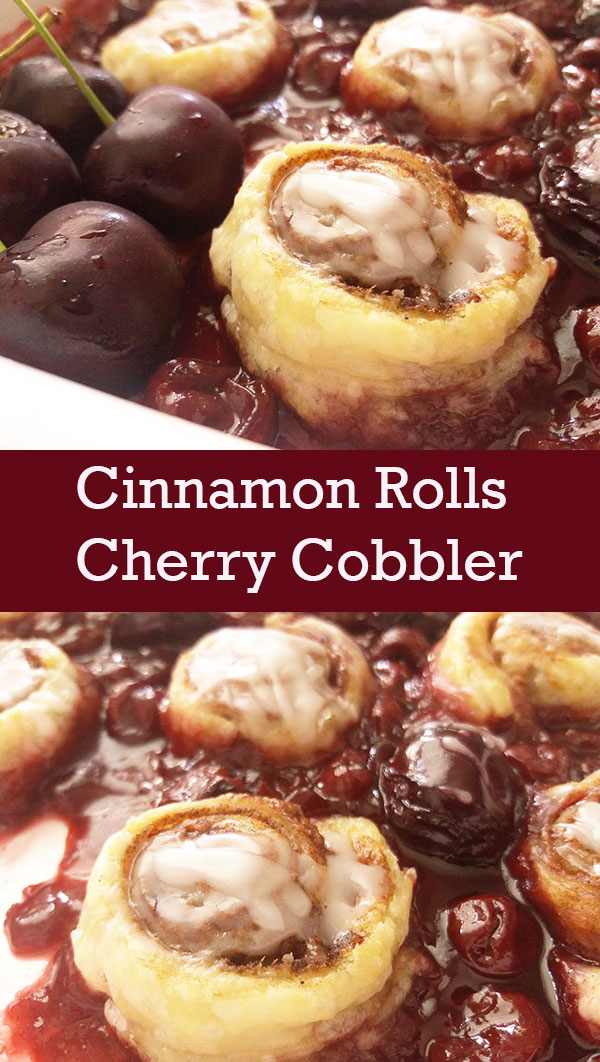 Cinnamon Rolls Cherry Cobbler : cherries in love with cinnamon rolls !