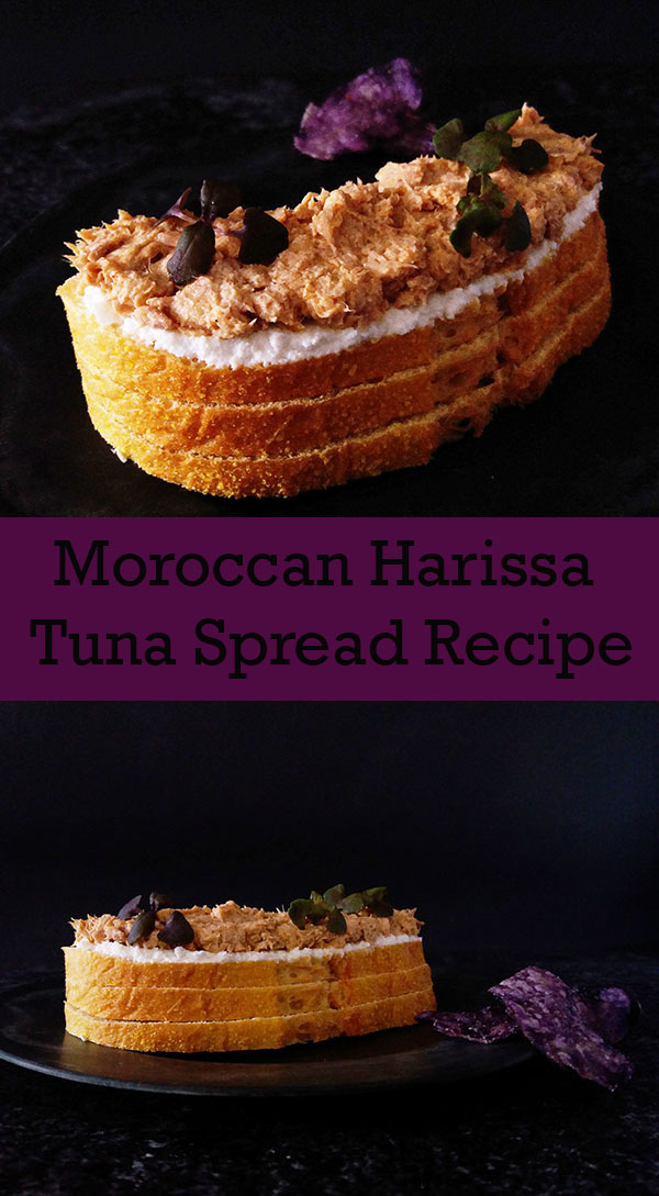 Moroccan Harissa Tuna Spread Recipe : easy Mediterranean spread, done in five minutes only !