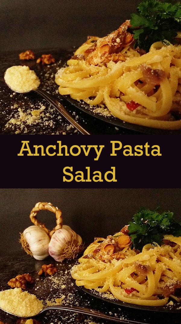 Anchovy Pasta Salad : Linguine All'Amalfitana Salad AKA Amalfi-style Linguine Salad.