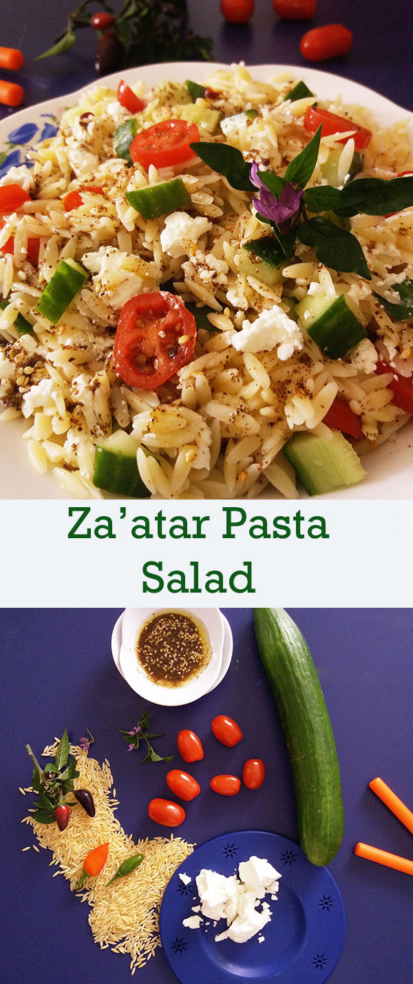Za'atar Pasta Salad is perfect refreshing summer salad with any kind of pasta you prefer and delicious Za'atar spice blend.