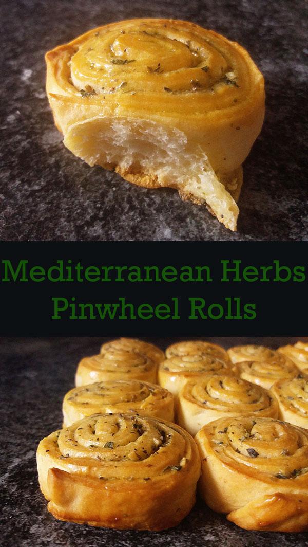 Mediterranean Herbs Pinewheel Rolls : rich with Mediterranean flavours and quickly done.