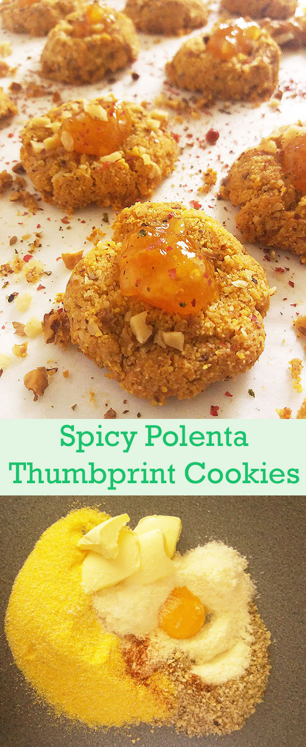 Spicy Polenta Thumbprint Cookies : parmesan and chili powder create perfect appetizer combined with coarse polenta and chopped walnuts !