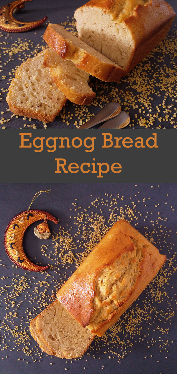 Eggnog Bread Recipe : deliciously festive eggnog bread, coated with eggnog and dusted with golden sugar.