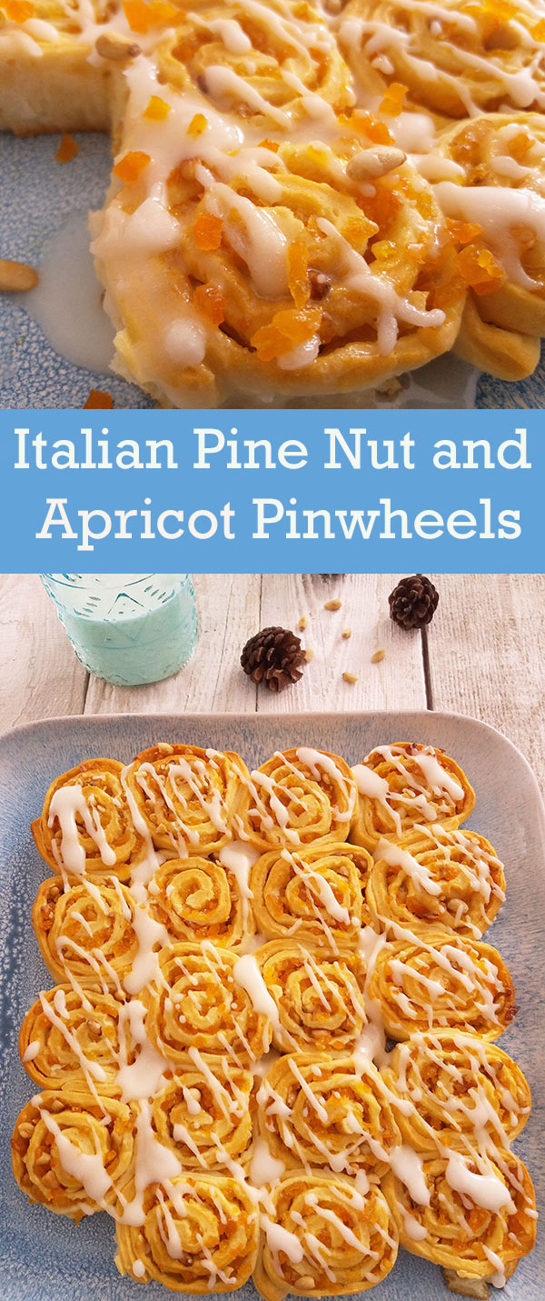 Italian Pine Nut and Apricot Pinwheels : tasty flavourful holidays' dessert and snack.