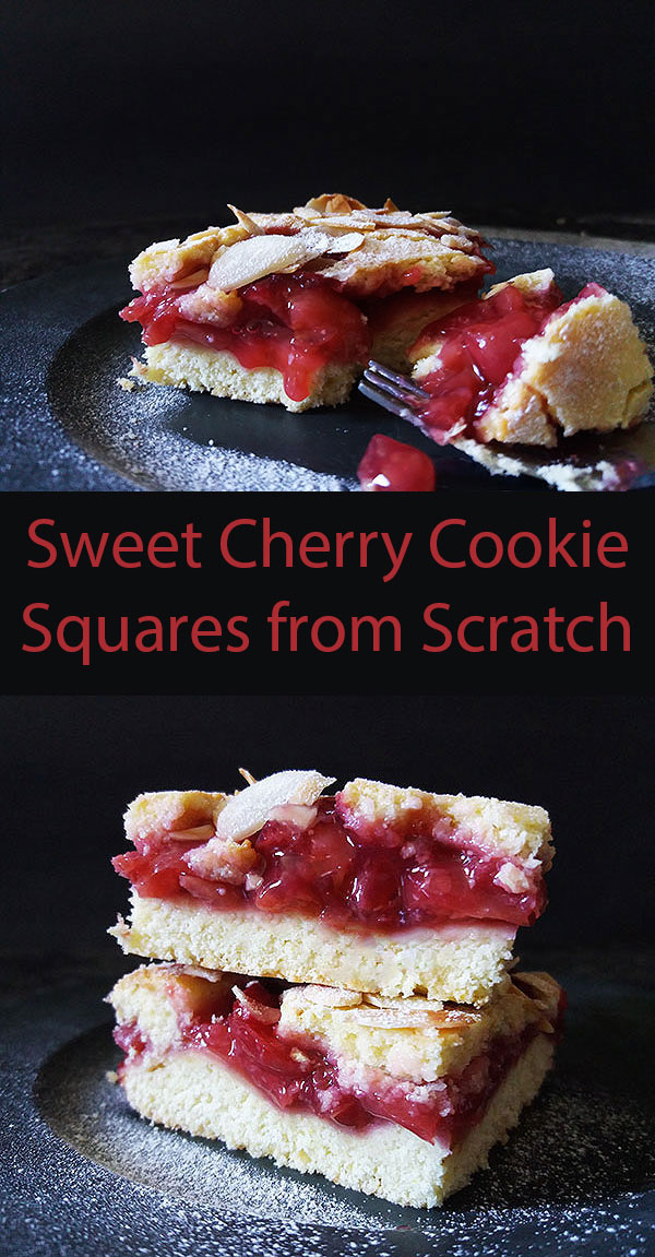 Sweet Cherry Cookie Squares from Scratch : perfect sweet cherry filling made from scratch between two layers of cookie dough, sprinkled with sliced almonds !