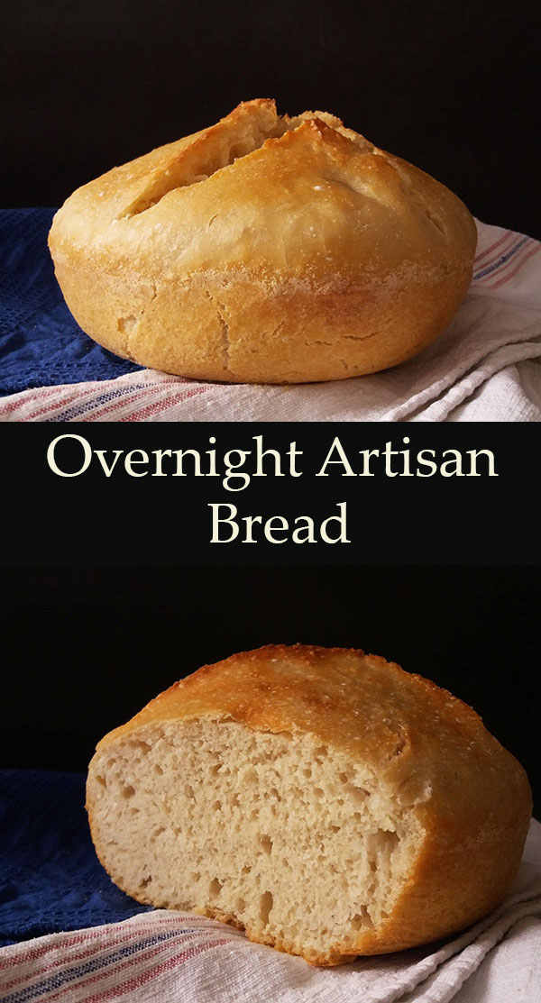 Overnight Artisan Bread, easy to make at home, soft inside, crunchy outside, releasing comforting flavours while baking, tasty and irresistible, once sliced.