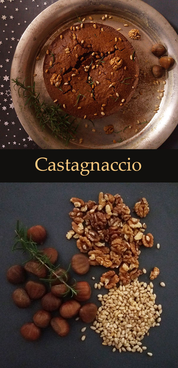 Castagnaccio : Italian rustic festive cake with chestnut flour, walnuts, rosemary and pine nuts.