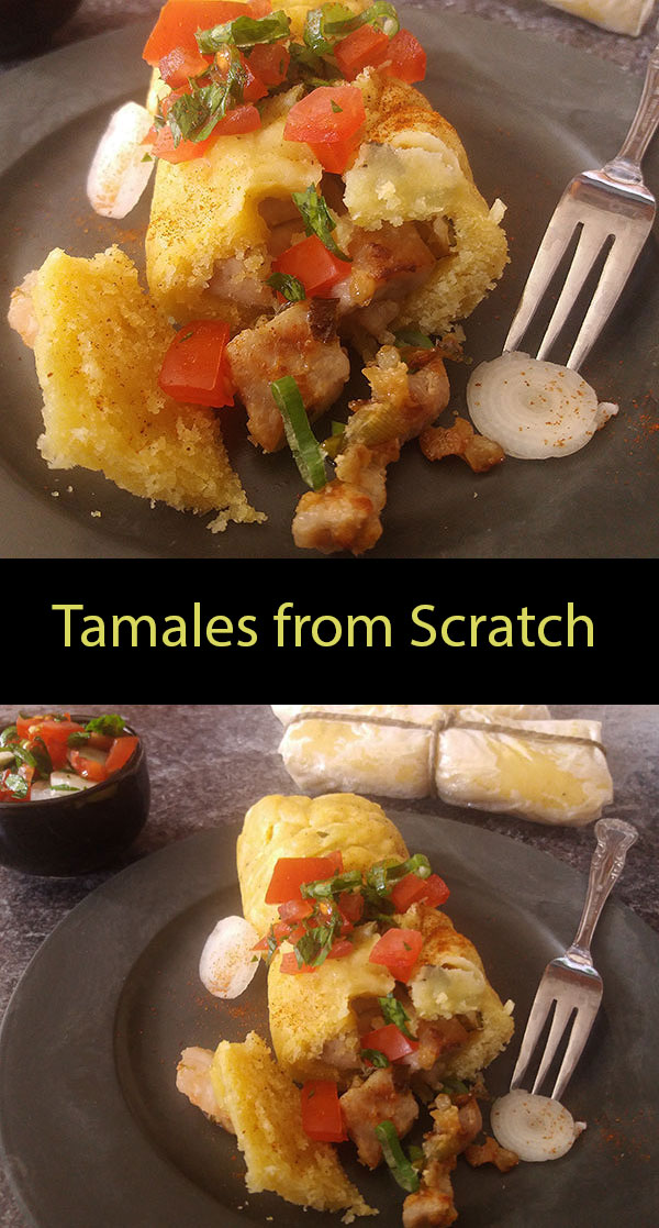 Tamales from Scratch : wrapped in baking paper instead of corn husk, easy to prepare in your stove top steamer, filled with pork and served with Pico de Galo.
