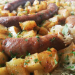 Sheet Pan Roasted Potatoes, Sausage and Sauerkraut